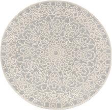 Tapis d'extérieur rond gris perle 160 cm