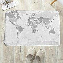 Tapis de Bain Antidérapant,Gris, Carte du monde