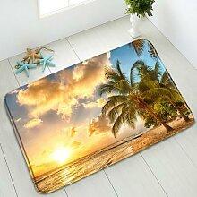 Tapis de bain antidérapant océan palmier paysage