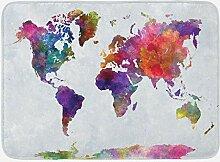 Tapis de bain aquarelle, carte du monde