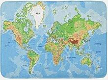 Tapis de Bain Carte du Monde, Carte topographique