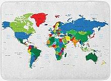 Tapis de Bain Carte du Monde, frontières de Carte