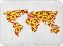 Tapis de Bain Carte du Monde Pizza Continents