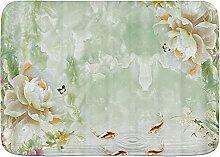 Tapis de Bain de Salle de Bain, Plante Fleur