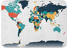 Tapis de bain en peluche avec motif carte du monde