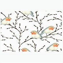 Tapis de bain motif bourgeon papier textile osier