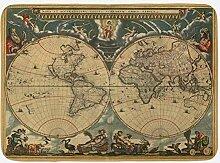 Tapis de bain vintage - Motif vieille carte du