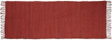 Tapis de couloir à franges rouge 80 x 200 cm 100%