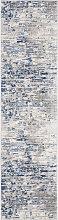 Tapis de couloir moderne  ivoire et bleu 62x240