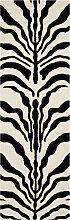 Tapis de couloir motif zèbre  ivoire et noir