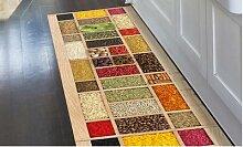 Tapis de cuisine en PVC: 52 x 80 cm / Bois d orient