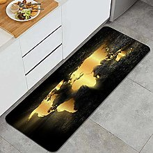 Tapis de Cuisine Lavable,Carte du Monde Heart of