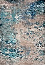 Tapis de salon contemporain bleu et gris 91x152