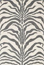 Tapis de salon motif zèbre  ivoire et gris 152x243