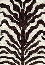 Tapis de salon motif zèbre  ivoire et marron