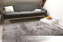 Tapis de Salon Satin Argent 120x170 cm - Tapis