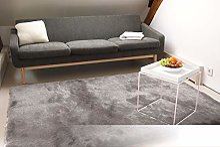 Tapis de Salon Satin Argent 80x150 cm - Tapis