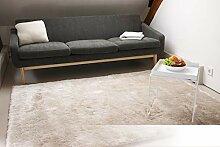 Tapis de Salon Satin Beige/crème 140x200 cm -