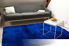Tapis de Salon Satin Bleu 80x150 cm - Tapis Shaggy