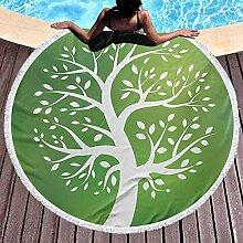Tapis de serviette de yoga rond Arbre de vie