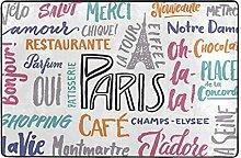Tapis de sol antidérapant The Paris typographique