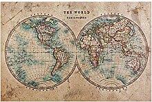 Tapis de sol en PVC avec motif carte du monde