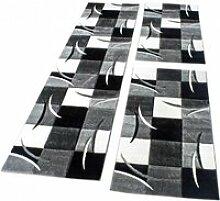 Tapis Descente De Lit Avec Motifs À Carreaux Noir