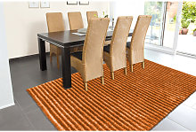 Tapis Design Effet 3D Poil Long Orange 140cm x