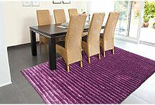Tapis Design Effet 3D Poil Long Violet 140cm x