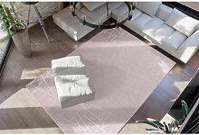 Tapis Design Glamour Motif Simple Poil Long Argent