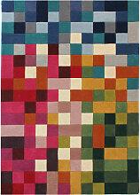Tapis en laine géométrique multicolore moderne