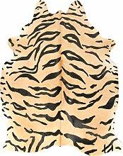 Tapis en peau de vache imprimé safari tigre