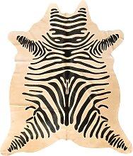 Tapis en peau de vache imprimé safari zèbre