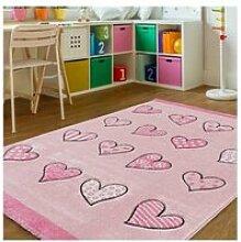 Tapis enfant 133x133 cm rond coeur rose chambre