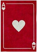 Tapis enfant coton carte as de coeur - 120x160 cm