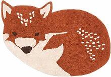 Tapis enfant Little Wolf coton renard roux endormi