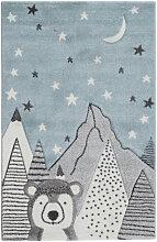 Tapis enfant motif ours gris et bleu 100 x 150 cm