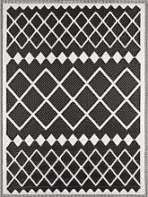 Tapis extérieur motif géométrique noir 180x280
