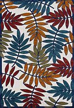 Tapis extérieur multicolore au motif palmier