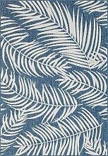 Tapis extérieur polypropylène bleu 70x140