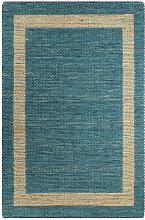 tapis fait à la main jute bleu 160x230 cm - Rogal