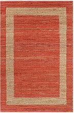 tapis fait à la main jute rouge 120x180 cm - Rogal