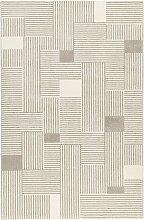 Tapis graphique gris/beige ras pour salon, chambre