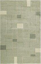 Tapis graphique vert/beige ras pour salon, chambre