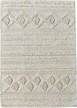 Tapis Hawley tissé main laine coloris ivoire