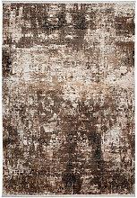 Tapis ivoire rectangle avec franges rayé vintage