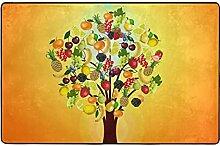 Tapis jaune arbre fruitier pour chambre à