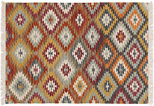 Tapis kilim tissé main en laine et coton 160 x