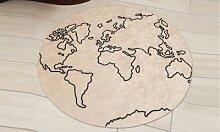 Tapis lavable imprimé carte du monde gris 80x80