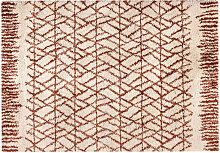 Tapis moderne beige et rouge tomette 200 x 290 cm